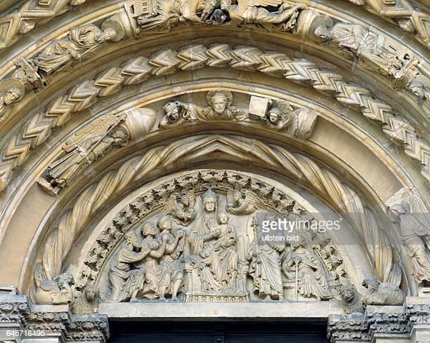 DFreiberg Freiberger Mulde Erzgebirge Saxony Cathedral of St Mary evangelic church Late Gothic Golden Gate Goldene Pforte Late Romanesque...