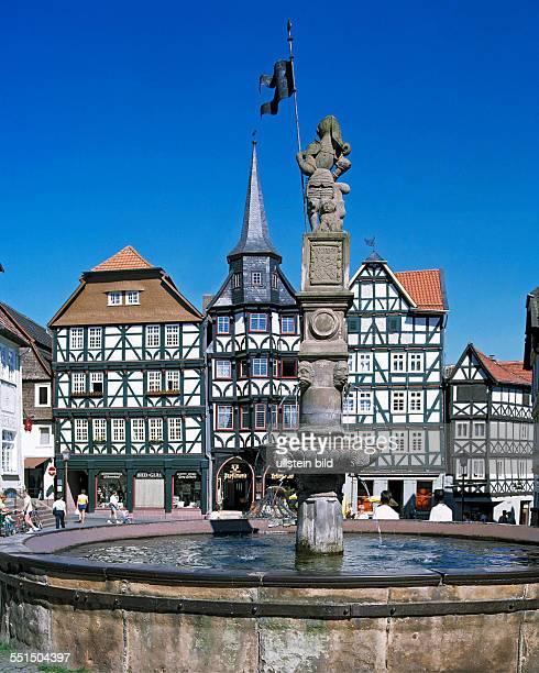 Fritzlar, Eder, West Hesse Highlands, Hessian Highlands, Hesse, old town, market place, half-timbered houses, kontor building, guildhall, Fritzlar...