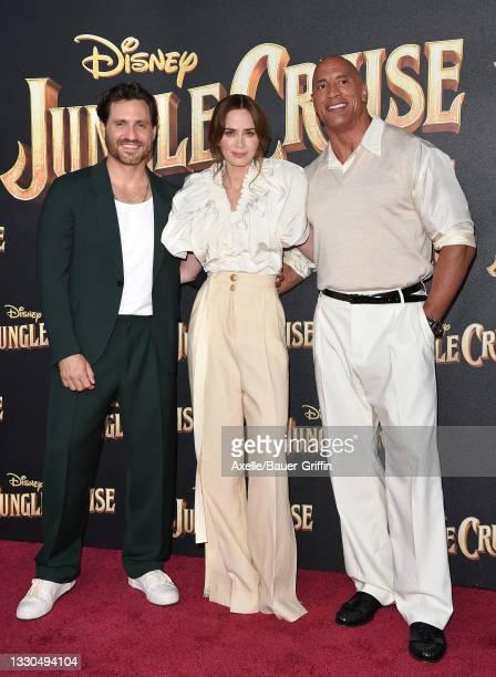 "Édgar Ramírez, Emily Blunt and Dwayne Johnson attend the World Premiere of Disney's ""Jungle Cruise"" at Disneyland on July 24, 2021 in Anaheim,..."