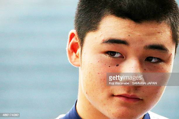 Dh Kotaro Kiyomiya of Japan looks on in the first round game between Japan v Mexico during the 2015 WBSC U18 Baseball World Cup at the Maishima...
