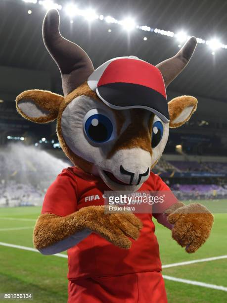 Dhabi the FIFA Club World Cup UAE 2017 mascot looks on during the FIFA Club World Cup UAE 2017 Match for 5th Place between Wydad Casablanca and Urawa...
