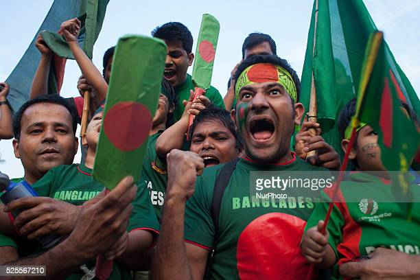 Bangladeshi cricket supporters celebrates the national team's win against England in the ICC World Cup 2015 in Dhaka Bangladesh have stormed into the...