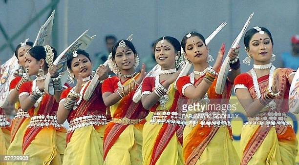 Bangladeshi dancers perform a routine during the inauguration ceremony of the Asian Football Confederation Challenge Trophy in Dhaka 01 April 2006...