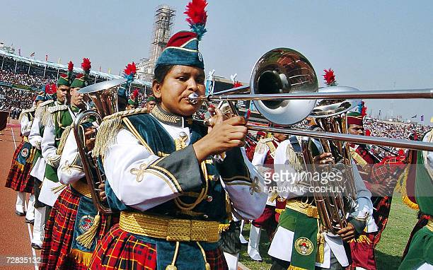 Bangladeshi instrumentalist soldiers parade during celebrations marking the country's 35th Victory Day at Bangabandhu National Stadium in Dhaka 16...