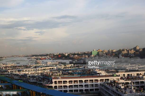 Dhaka Bangladesh Bangladeshi people rush to home villages at central ferry terminal in the capital city to celebrate to celebrate Eidal Adha festival...