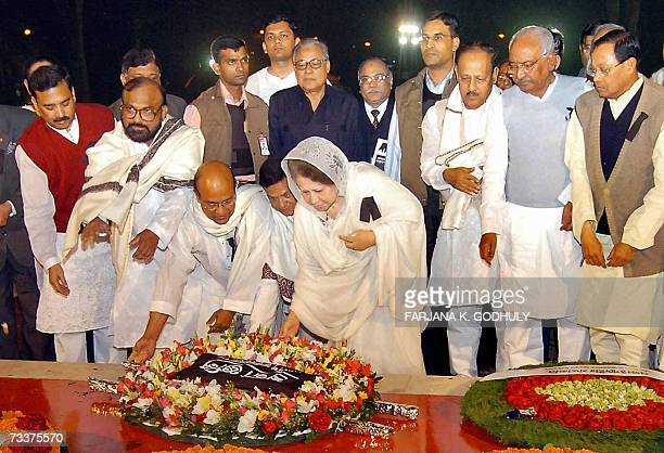 Leader of Bangladesh National Party Khaleda Zia lays wreaths at Shahid Minar or the Martyrs' Monument to pay her respects to the Bengali language...