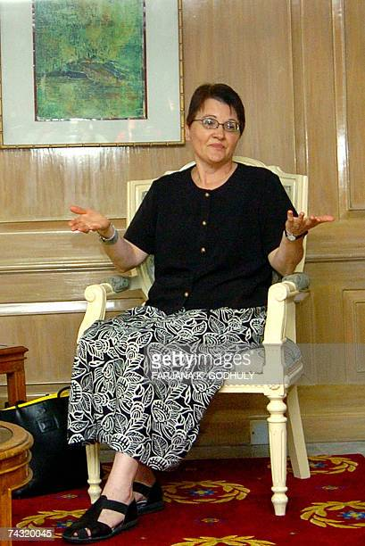US Ambassador Patricia A Butenis gestures during a meeting with former Bangladeshi Prime Minister Khaleda Zia in Dhaka 25 May 2007 Zia and Butenis...