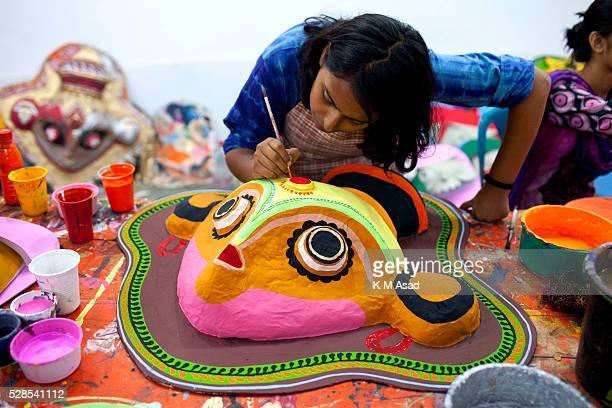 Dhaka University Art Institute student paint masks for colorful preparation to celebrate upcoming Bengali New Year 1423 in Dhaka Bangladesh April 11...