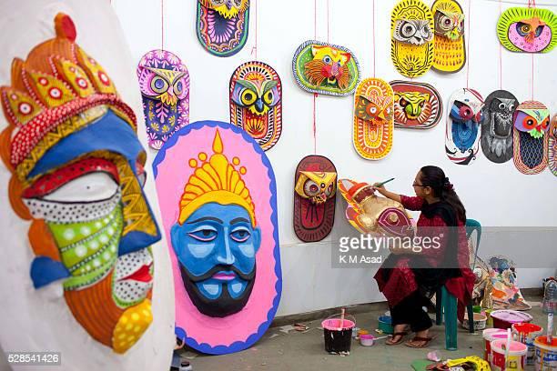 CHARUKOLA DHAKA BANGLADESH Dhaka University Art Institute student paint masks for colorful preparation to celebrate upcoming Bengali New Year 1423 in...