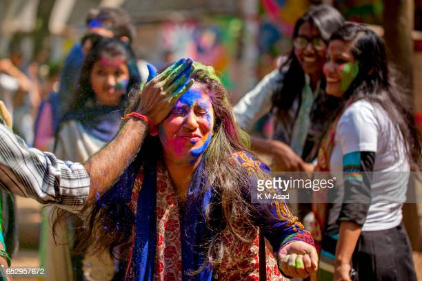 UNIVERCITY DHAKA BANGLADESH Dhaka University fine Art Students celebrate the Holi Festival or Festival of Colors after smearing each other with...