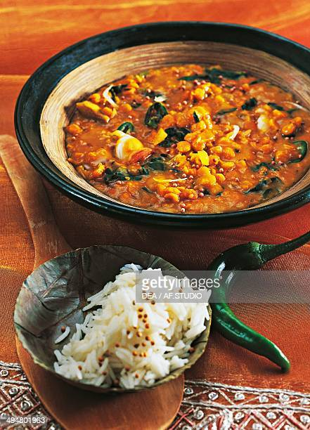 Dhal red lentils stewed with spinach and coconut milk India