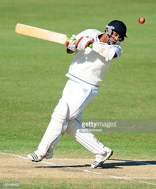 Dhamika Prasad of Sri Lanka A gets hit by the ball during day three of the test match between Australia A and Sri Lanka A at Tony Ireland Stadium on...