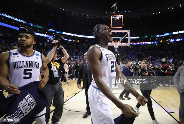 Dhamir CosbyRoundtree of the Villanova Wildcats celebrates after defeating the Texas Tech Red Raiders 7159 in the 2018 NCAA Men's Basketball...