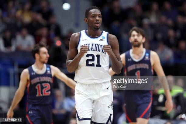 Dhamir CosbyRoundtree of the Villanova Wildcats reacts after a play in the second half against the Saint Mary's Gaels during the 2019 NCAA Men's...