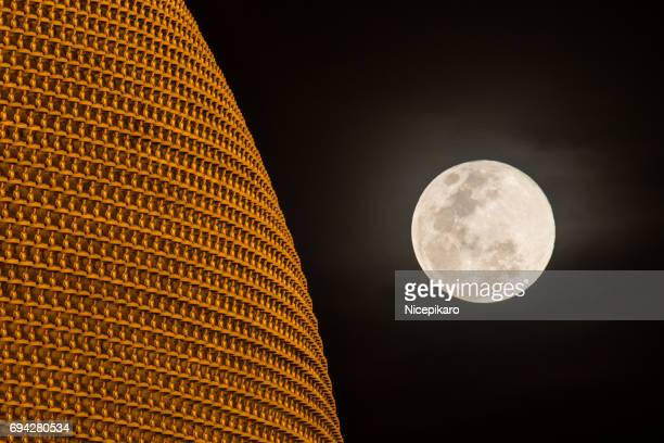 dhammakaya with moon. - mini moon stock pictures, royalty-free photos & images