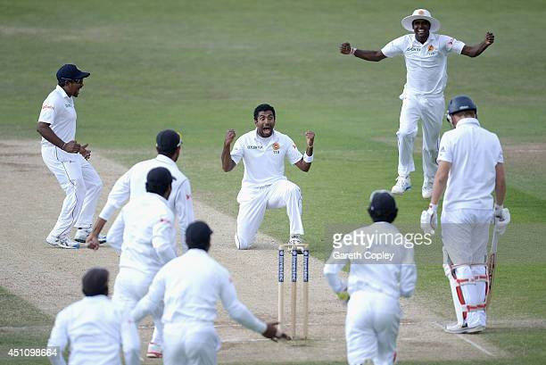 Dhammika Prasad of Sri Lanka celebrates dismissing Gary Ballance of England during day four of 2nd Investec Test match between England and Sri Lanka...