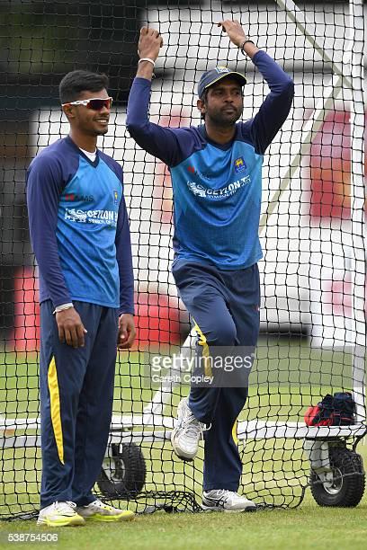 Dhananjaya de Silva and Dilruwan Perera of Sri Lanka during a nets session ahead of the 1st Investec Test match between England and Sri Lanka at...