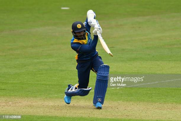 Dhananjaya de Silva of Sri Lanka bats during the ICC Cricket World Cup 2019 Warm Up match between Sri Lanka and South Africa at Cardiff Wales Stadium...