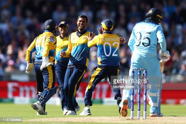 Dhananjaya de Silva of Sri Lanka celbrates taking the wicket of Adil Rashid of England during the Group Stage match of the ICC Cricket World Cup 2019...