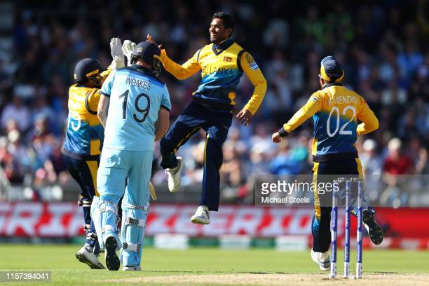 Dhananjaya de Silva of Sri Lanka celbrates taking the wicket of Chris Woakes of England during the Group Stage match of the ICC Cricket World Cup...