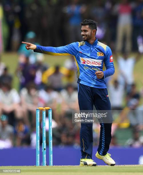 Dhananjaya de Silva of Sri Lanka celebrates dismissing Joe Root of England during the 2nd One Day International match between Sri Lanka and England...