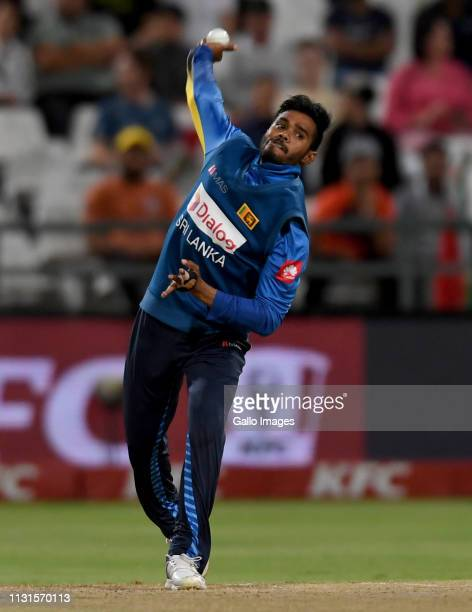 Dhananjaya de Silva of Sri Lanka during the 1st KFC T20 International match between South Africa and Sri Lanka at PPC Newlands on March 19 2019 in...