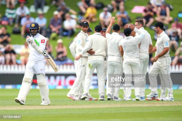 Dhananjaya De Silva of Sri Lanka leaves the field after being dismissed during day one of the First Test match in the series between New Zealand and...