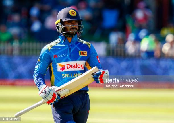 Dhananjaya de Silva of Sri Lanka loses his wicket during the One Day International cricket match between South Africa and Sri Lanka on March 13 2019...