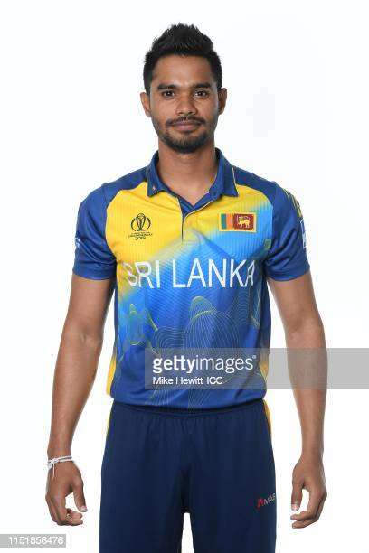 Dhananjaya De Silva of Sri Lanka poses for a portrait prior to the ICC Cricket World Cup 2019 at the Grand Harbour Hotel on May 26 2019 in...
