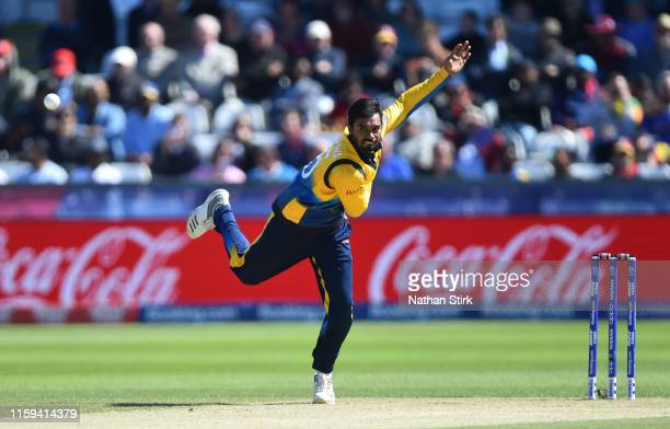 Dhananjaya de Silva of Sri Lanka runs into bowl during the Group Stage match of the ICC Cricket World Cup 2019 between Sri Lanka and West Indies at...