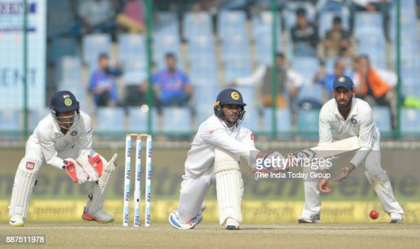 Dhananjaya de Silva plays a shot during the fifth day of Third Test Cricket match between India and Sri Lanka at the Feroz Shah Kotla Cricket Stadium...
