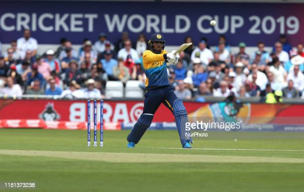 Dhananjaya de Silva plays the shot which results in him being caught by Joe Root during the ICC Cricket World Cup 2019 match between England and Sri...