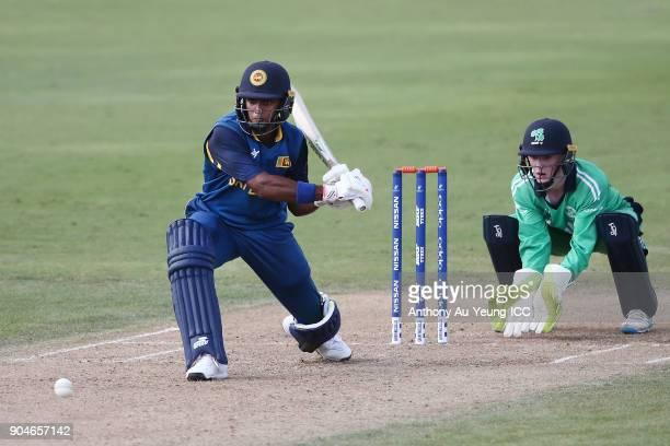 Dhananjaya Lakshan of Sri Lanka bats during the ICC U19 Cricket World Cup match between Sri Lanka and Ireland at Cobham Oval on January 14 2018 in...