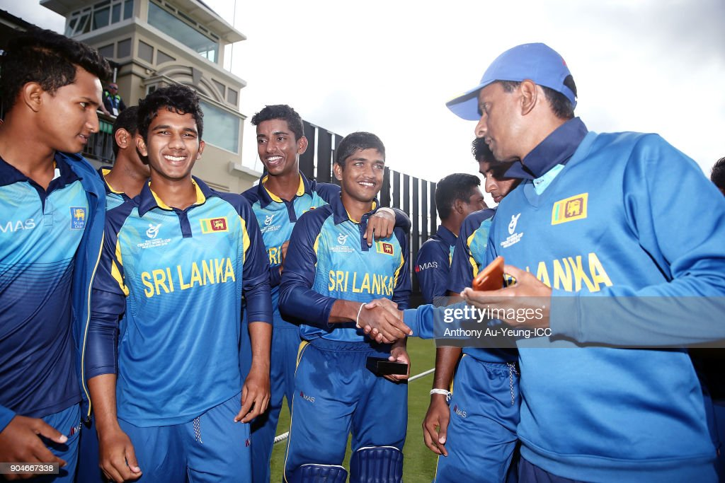 Dhananjaya Lakshan of Sri Lanka is congratulated after receiving his Man of the Match medallion after winning the ICC U19 Cricket World Cup match between Sri Lanka and Ireland at Cobham Oval on January 14, 2018 in Whangarei, New Zealand.