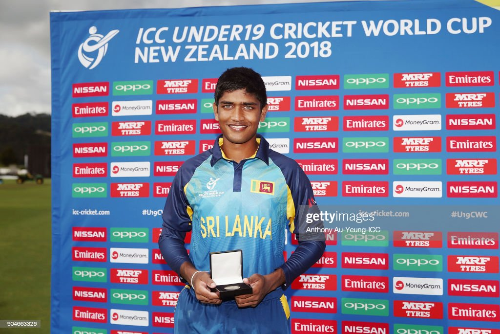 Dhananjaya Lakshan of Sri Lanka poses for a photo with the Man of the Match medallion after the ICC U19 Cricket World Cup match between Sri Lanka and Ireland at Cobham Oval on January 14, 2018 in Whangarei, New Zealand.