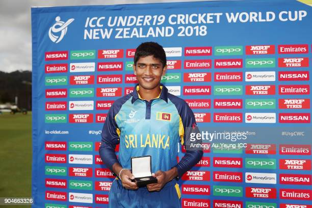 Dhananjaya Lakshan of Sri Lanka poses for a photo with the Man of the Match medallion after the ICC U19 Cricket World Cup match between Sri Lanka and...