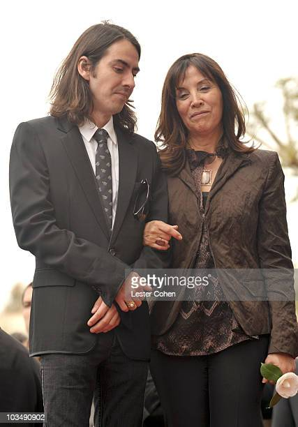 Dhani Harrison and Olivia Harrison attend the ceremony honoring the late George Harrison with a star on The Hollywood Walk of Fame on April 14, 2009...