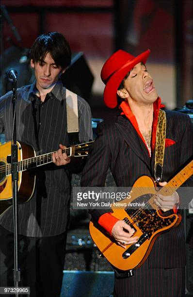 Dhani Harrison son of late Beatles great George Harrison jams with Prince at the Rock and Roll Hall of Fame ceremony at the WaldorfAstoria George...