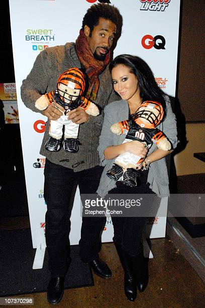Dhani Jones and Adrienne Bailon attend the 81 Cares Bowl presented by Terrell Owens and GQ Magazine at Star Lanes On The Levee on December 6 2010 in...