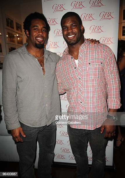 Dhani Jones and Keith Rivers of the Cincinnati Bengals attend the GBK Gift Lounge at Player's Press PreSuper Bowl Party at Sagamore Hotel on February...