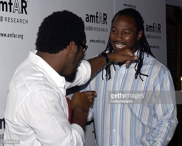 Dhani Jones and Lennos Lewis during 14th Annual amfAR Rocks Benefit at Tavern on the Green in New York City New York United States