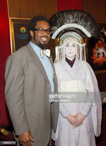 Dhani Jones and Queen Amidala during Star Wars Episode III Revenge Of The Sith New York City Benefit Premiere Red Carpet at The Ziegfeld Theater in...