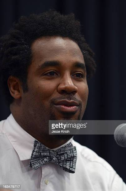 """Dhani Jones, host of Spike.com speaks onstage at The New ROI: Return On Influence - How Influencers Should Leverage Their """"Social Capital"""" In The..."""