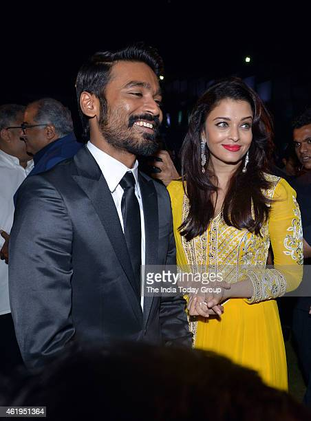 Dhanush and Aishwarya Rai Bachchan at the music launch of Shamitabh and 1000 films celebration of Ilaiyaaraaja music