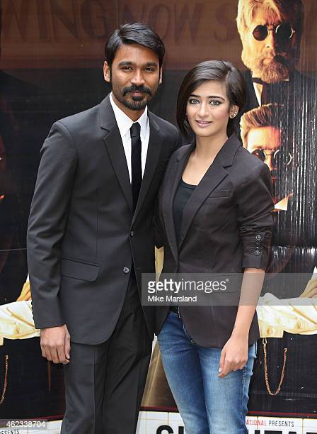 Dhanush and Akshara Haasan attend a photocall for 'Shamitabh' at St James Court Hotel on January 27 2015 in London England