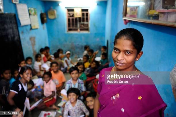 Dharavi Slum in Mumbai Dharavi is the largest slum in Asia small school in Mumbai on March 15 2014 in Mumbai India