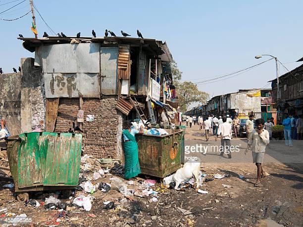 ダーラーヴィースラム街の風景、ムンバイ,インド