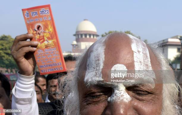 Dharm Das Maharaj of the Akhil Bharatiya Panch Ramanandi Nirmani Ani Akhara seen after the hearing on Ayodhya case near the Supreme Court on January...