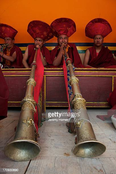 LAMAYURU LADAKH KARGIL INDIA Dharma trumpets are blown during festivities Monks and pilgrims mix to celebrate the Lamayuru Festival 56 June Lamayuru...