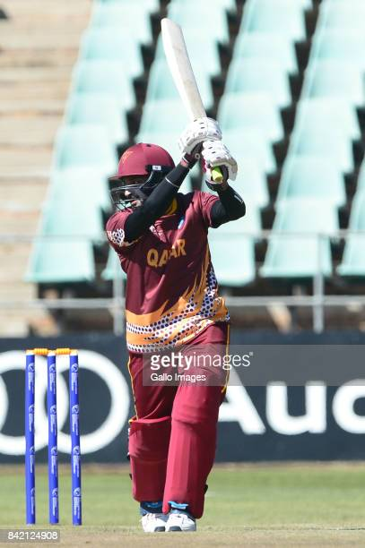 Dharmang Patel of Qatar during day 1 of the 2017 ICC World Cricket League Division 5 match between Qatar and Cayman Islands in South Africa at...